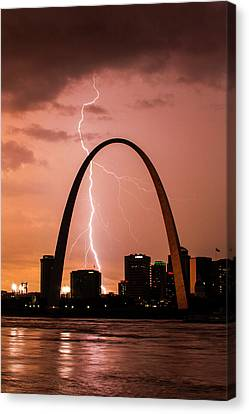 Lightning Storm Over St Louis Canvas Print by Garry McMichael