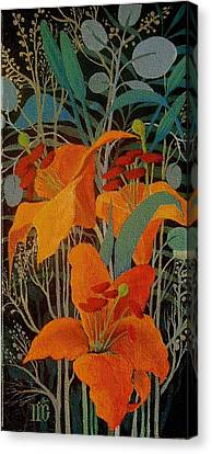 Canvas Print featuring the painting Lilies by Marina Gnetetsky
