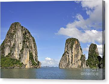 Limestone Karst Peaks Islands In Ha Long Bay Canvas Print by Sami Sarkis