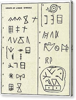 Linear Script Symbols Canvas Print by Sheila Terry