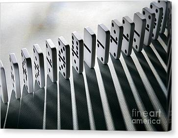 Lined Up Dominoes Canvas Print by Victor de Schwanberg