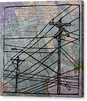 Lines On Map Canvas Print by William Cauthern