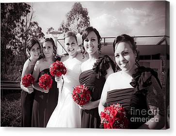 Lineup Of Bride And Bridesmaides Canvas Print by Jorgo Photography - Wall Art Gallery
