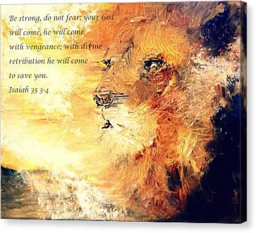 Lion Of Judah Strength Canvas Print by Amanda Dinan