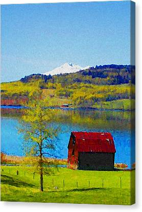 Little Barn By The Lake Canvas Print by Lenore Senior and Constance Widen