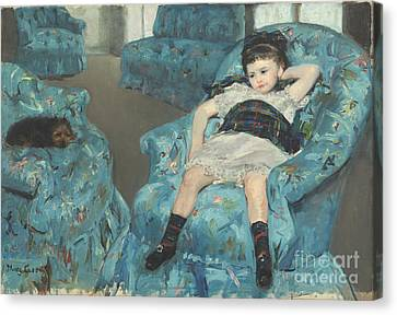 Little Girl In A Blue Armchair Canvas Print by Celestial Images