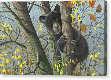Canvas Print featuring the painting Little Mischief by Mike Brown