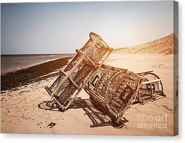 Lobster Traps On Beach Canvas Print by Elena Elisseeva