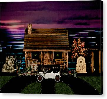 Log Cabin Scene At Sunset With The Old Vintage Classic 1913 Buick Model 25 Canvas Print by Leslie Crotty