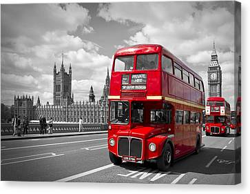 London - Houses Of Parliament And Red Buses Canvas Print