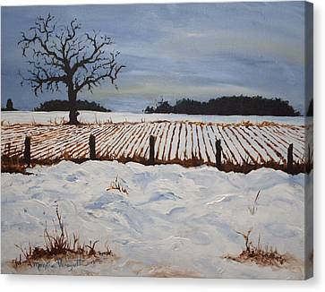 Lone Tree In Winter Canvas Print by Monica Veraguth