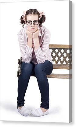 Lonely Business Girl Sitting On Park Bench Canvas Print by Jorgo Photography - Wall Art Gallery