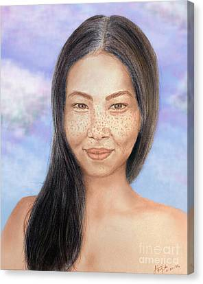 Long Haired Natural Asian Beauty Canvas Print by Jim Fitzpatrick