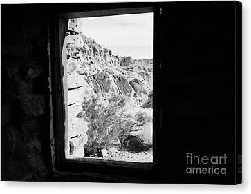 Looking Out Through Window From Interior Of Historic Stone Cabin Built By The Civilian Conservation  Canvas Print by Joe Fox