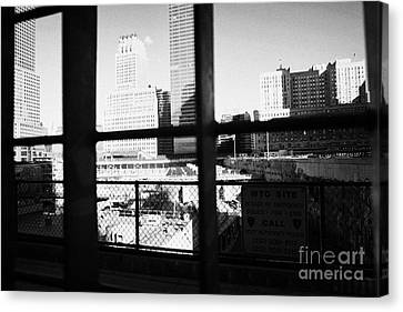 Looking Through The Metal Fence Down Onto The World Trade Center Reconstruction Site Ground Zero Canvas Print by Joe Fox