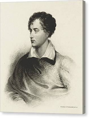 Canvas Print featuring the photograph Lord Byron, English Romantic Poet by British Library
