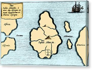 Lost Continent Of Atlantis, 1665 Canvas Print by Science Source