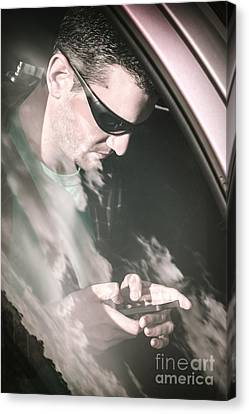 Lost Driver Using Mobile Phone Gps Canvas Print by Jorgo Photography - Wall Art Gallery