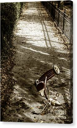 Wrought Iron Bicycle Canvas Print - Lost by Margie Hurwich