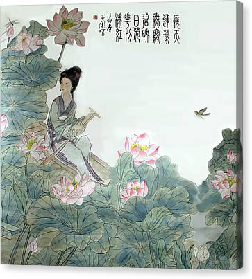 Canvas Print featuring the photograph Lotus Pond by Yufeng Wang