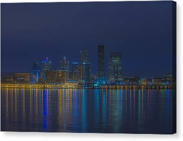 Kentucky Wildcats Canvas Print - Louisville Kentucky Night Skyline Digital Paint by David Haskett