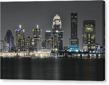 Slugger Canvas Print - Night Lights Of Louisville by Frozen in Time Fine Art Photography