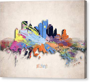 Pittsburgh Painted City Skyline Canvas Print by World Art Prints And Designs