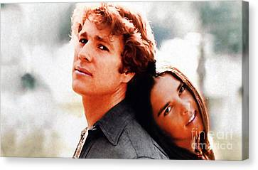 Love Story Ali Macgraw Ryan O'neal Canvas Print by Marvin Blaine