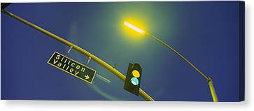 Low Angle View Of Traffic Lights Canvas Print by Panoramic Images