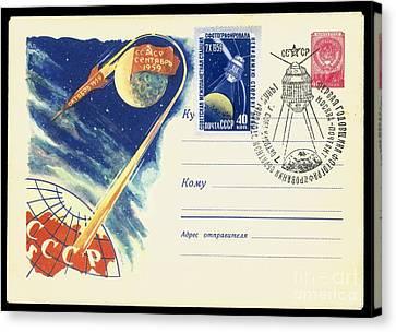 Luna 3, Soviet Postcard Canvas Print