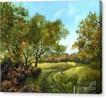 Canvas Print featuring the painting Luray Pasture by Lynne Wright