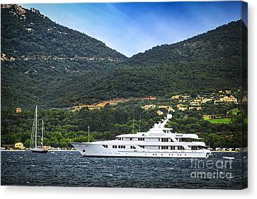 Water Vessels Canvas Print - Luxury Yacht At The Coast Of French Riviera by Elena Elisseeva