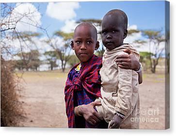Maasai Children Portrait In Tanzania Canvas Print by Michal Bednarek