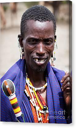Maasai Man Portrait In Tanzania Canvas Print by Michal Bednarek