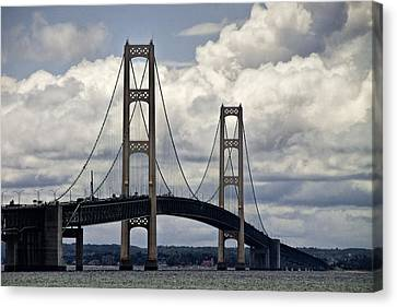 Mackinaw Bridge By The Straits Of Mackinac Canvas Print by Randall Nyhof