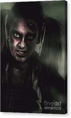 Mad Zombie Schoolgirl In Green Twilight Nightmare Canvas Print