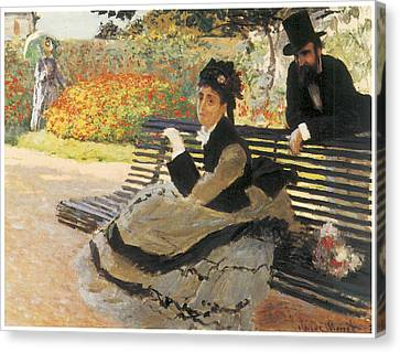 Madame Monet On A Garden Bench Canvas Print by Claude Monet