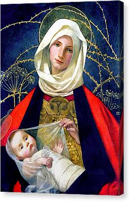 Madonna And Child Canvas Print - Madonna And Child by Marianne Stokes