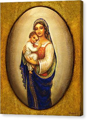 Canvas Print featuring the mixed media Madonna In A Halo by Ananda Vdovic