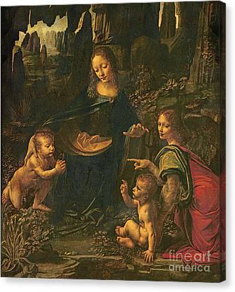 Madonna And Child Canvas Print - Madonna Of The Rocks by Leonardo da Vinci
