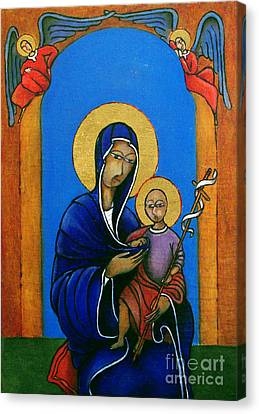 Madonna With Child And Cross Canvas Print by Estefan Gargost