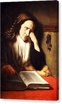 Mae's An Old Woman Dozing Over A Book Canvas Print by Cora Wandel