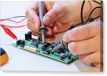Making An Electronic Micro Processor Canvas Print by Wladimir Bulgar