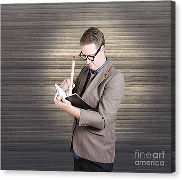 Male Administration Clerk Writing Diary Notes Canvas Print by Jorgo Photography - Wall Art Gallery