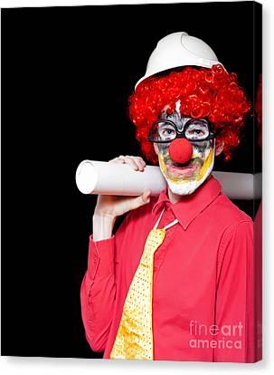Male Architect Clown Holding Bad Construction Plan Canvas Print