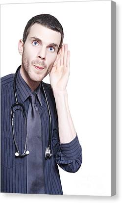 General Concept Canvas Print - Male Audiologist Doctor Listening To Patient by Jorgo Photography - Wall Art Gallery