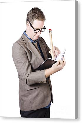 Male Business Nerd Writing Strategy In Note Book Canvas Print