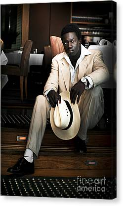 Male Fashion Model In White Suit Canvas Print by Jorgo Photography - Wall Art Gallery