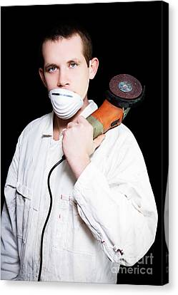Male Industrial Steel Worker Holding Angle Grinder Canvas Print