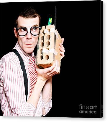Male Nerd Inventor Holding Brick Mobile Telephone Canvas Print